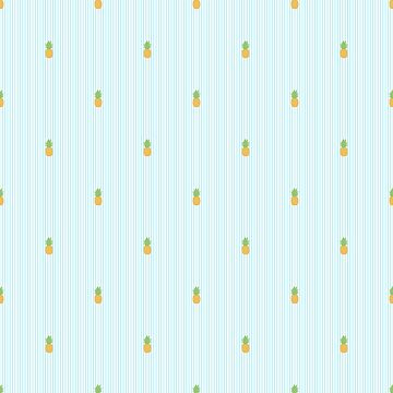 Blue Stripes Pineapple Tropical Print by JakeRhodes