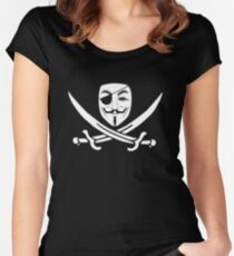 Anonymous mask skull and crossbones pirate Women's Fitted Scoop T-Shirt