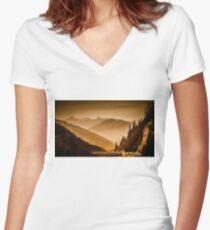 Arlberg Pass Mountain Landscape Women's Fitted V-Neck T-Shirt