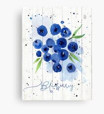 Watercolor Blueberries Canvas Print