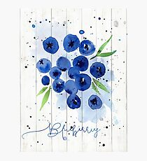 Watercolor Blueberries Photographic Print