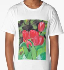 Tulips in the Woods Acrylic Painting Long T-Shirt