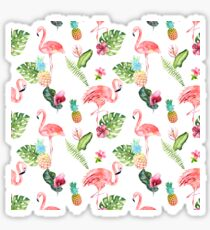 Pink Flamingo Watercolor Pattern Sticker