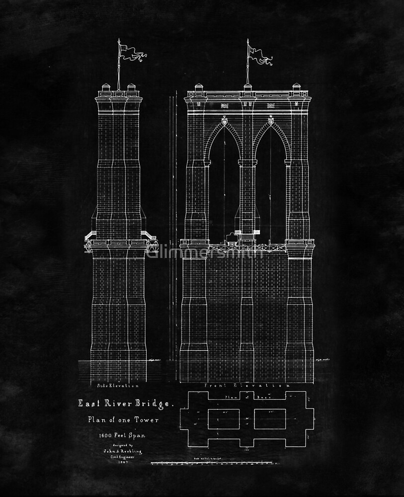 Brooklyn bridge east river bridge blueprint plan by glimmersmith brooklyn bridge east river bridge blueprint plan by glimmersmith malvernweather Gallery