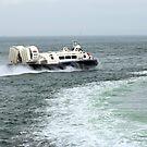 Hovercraft with boat wake by Sarmorrow