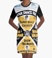 Winter Dance Party - Retro Music Festival Poster Graphic T-Shirt Dress