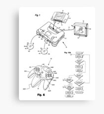 Mario Nintendo 64 Gaming System Patent Image Black Canvas Print