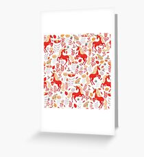 Red unicorns, gray rabbits, hummingbirds with ornaments, magic flowers and leaves. Decorative pattern in Scandinavian style. Greeting Card