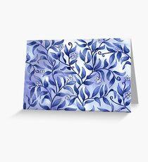 Jasmine and Flowing Foliage design in Dark Blue Greeting Card