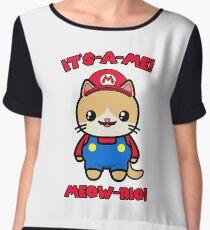 Cat Cute Funny Kawaii Mario Parody Chiffon Top