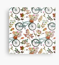 Autumn bike ride on white background Metal Print