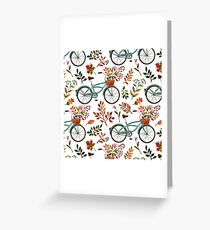 Autumn bike ride on white background Greeting Card