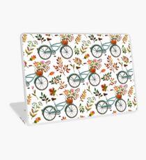 Vinilo para portátil Paseo en bicicleta de otoño sobre fondo blanco