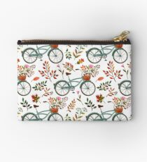 Autumn bike ride on white background Studio Pouch