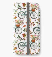 Autumn bike ride on white background iPhone Wallet/Case/Skin