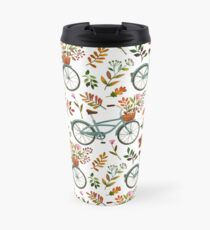 Autumn bike ride on white background Travel Mug