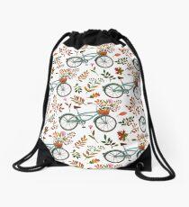 Autumn bike ride on white background Drawstring Bag