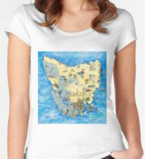 Illustrated Map of Tasmania Women's Fitted Scoop T-Shirt