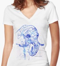 The elephant Women's Fitted V-Neck T-Shirt