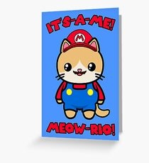Cute Cat Funny Kawaii Mario Parody Greeting Card
