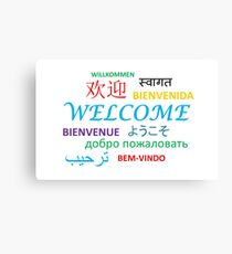 WELCOME Several Languages Canvas Print