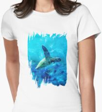 Sea Turtle Into The Deep Blue Women's Fitted T-Shirt