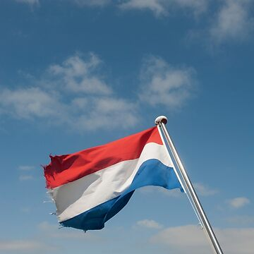 Dutch flag flying from stern of boat copy space. by stuwdamdorp