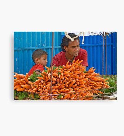 Carrots vendors Canvas Print