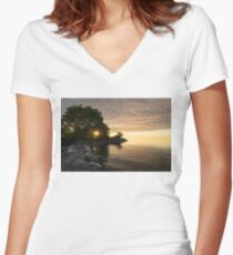Sunrise Sun Star - Fluffy Down and See-through Silk on the Lakeshore Women's Fitted V-Neck T-Shirt