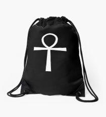 ANKH, KEY, Egypt, Egyptian, Symbol of life, Key of the Nile, White on Black Drawstring Bag
