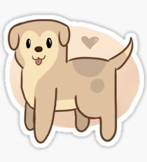 Cute brown puppy with its tongue out Sticker