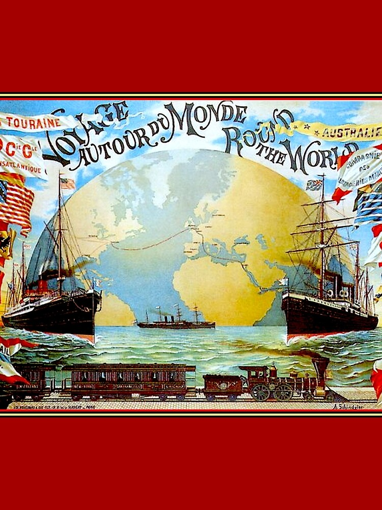 Around The World in 80 Days; Vintage Jules Verne Print by posterbobs