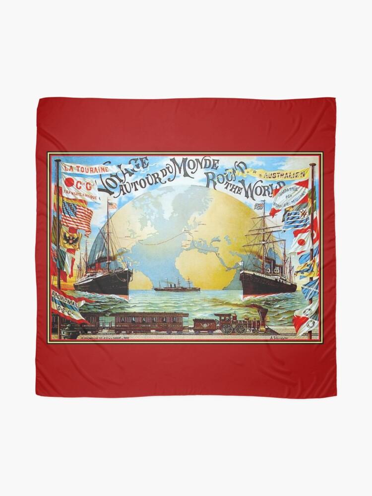 Alternate view of Around The World in 80 Days; Vintage Jules Verne Print Scarf