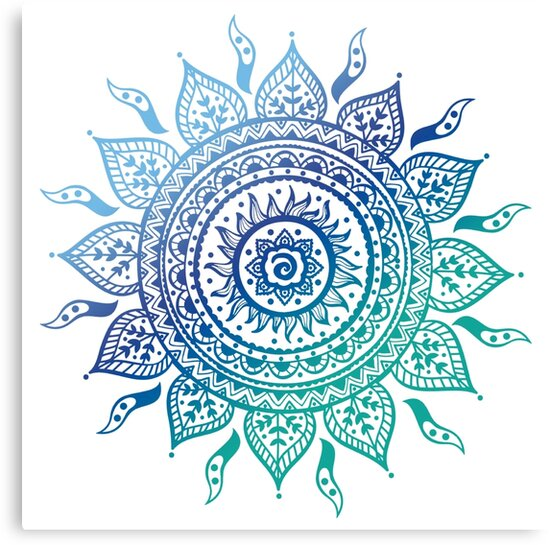 Blue Gradient Mandala Canvas Prints By Adjsr Redbubble