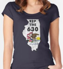 REP THE 630 - POPULAR DISTRESSED DESIGN WITH STATE FLAG AND AREA CODE 630 Women's Fitted Scoop T-Shirt