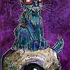 Zombie Cat with Skull on purple by byronrempel