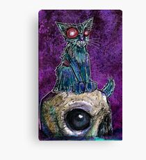 Zombie Cat with Skull on purple Canvas Print
