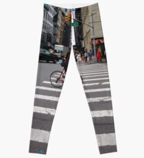 Zebra crossing, New York City, Manhattan, Brooklyn, New York, streets, buildings, pedestrians, #NewYorkCity, #Manhattan, #Brooklyn, #NewYork, #streets, #buildings, #skyscrapers, #cars, #pedestrians Leggings