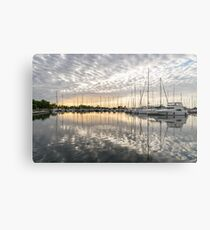 Herringbone Sky Patterns with Boats and Yachts Metal Print