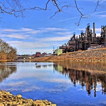 Reflection On The Lehigh - Bethlehem PA  by djphoto