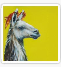 Lama's head on a yellow background, a painting painted in oil paints Sticker