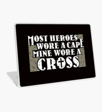Most Heroes Wore A Cape Mine Wore A Cross - Cool Jesus Chris Shirt and apparel For Christians Laptop Skin