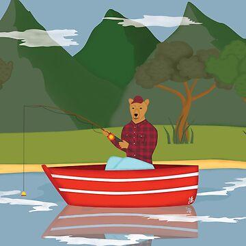 Fishing bear by yanatibear