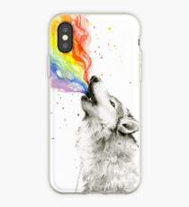 Vinilo o funda para iPhone Wolf Howling Rainbow