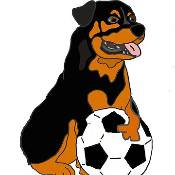 Funny Rottweiler Dog Playing Football Cartoon by naturesfancy