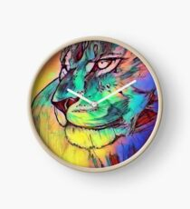 Watercolor Lion Clock