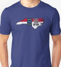 REP THE 919 - POPULAR DISTRESSED DESIGN WITH STATE FLAG AND AREA CODE 919 Unisex T-Shirt