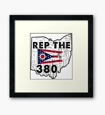 REP THE 380 - POPULAR DISTRESSED DESIGN WITH STATE FLAG AND AREA CODE 380 Framed Print