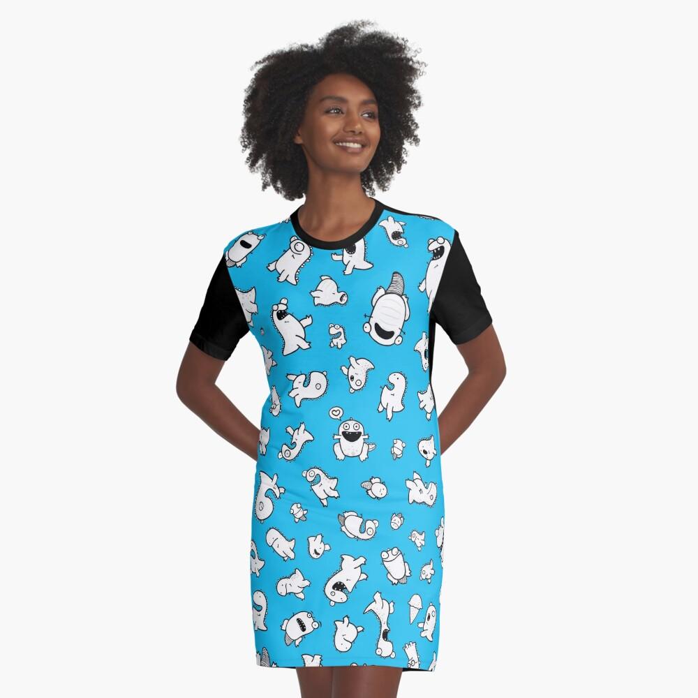 Dino-mite! (Cyan) Graphic T-Shirt Dress