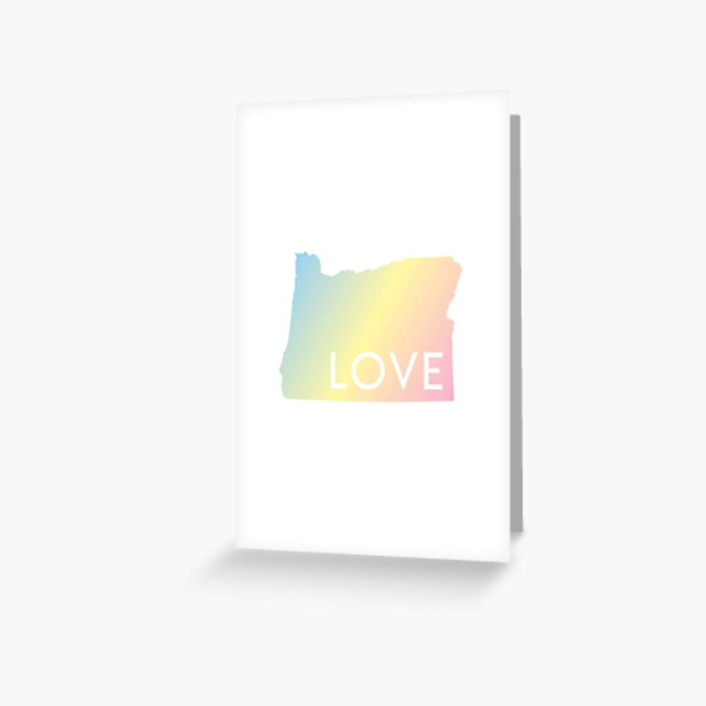 Pastel Rainbow Oregon Love Greeting Card